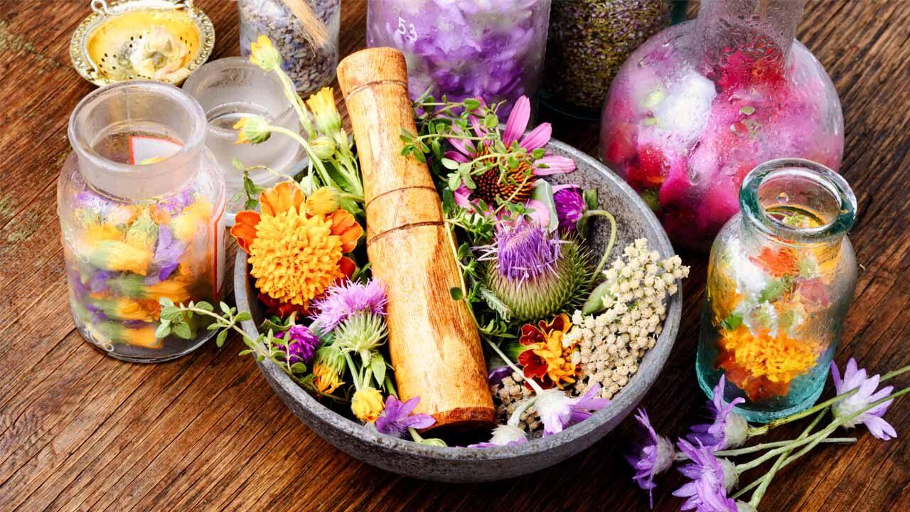 Buntes Blumenquipment