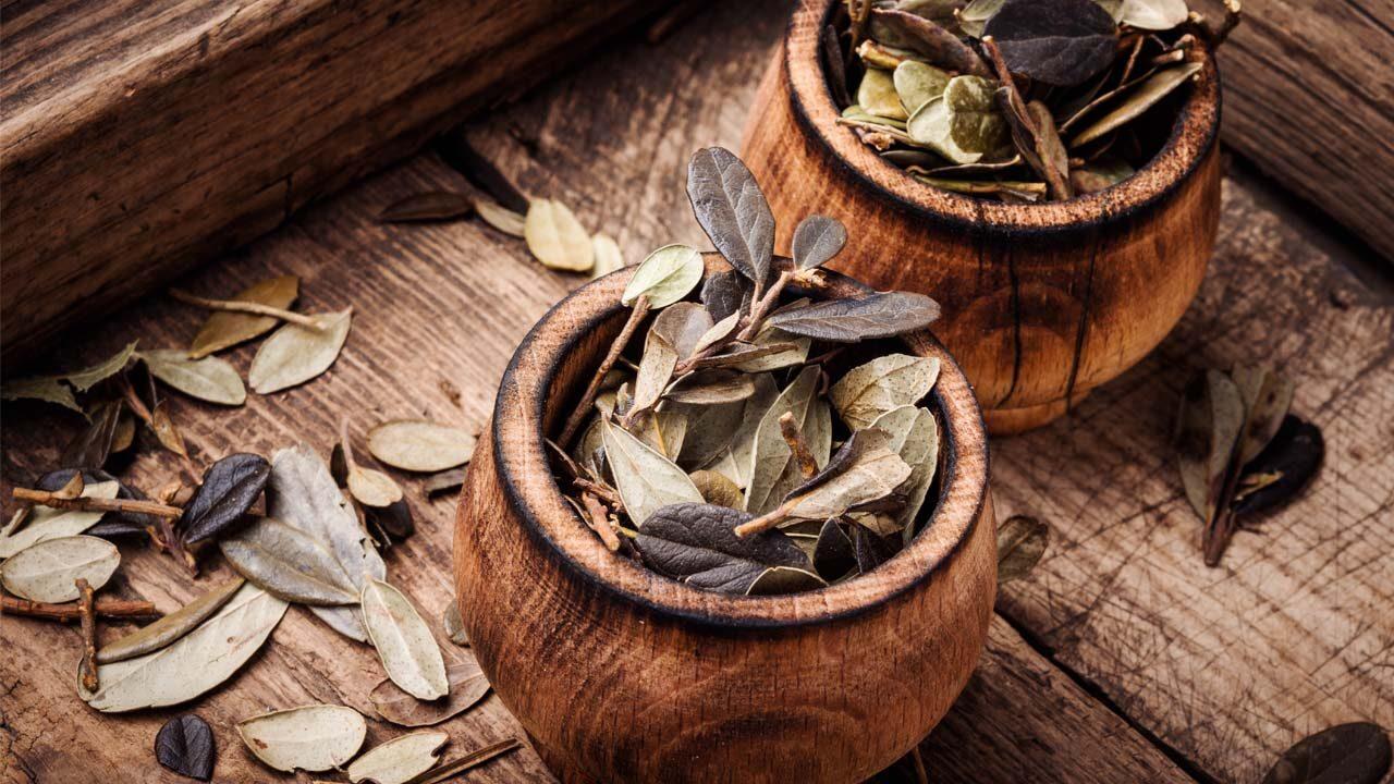 getrocknete Blätter in Holzschüssel